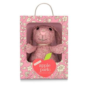 Organic Patterned Plush Pink Floral Bunny