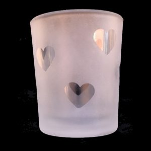 Heart Frosted Votive Candle Container