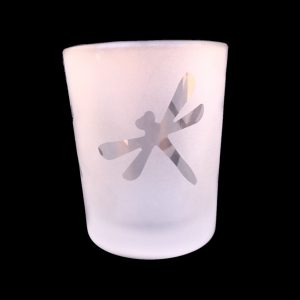 large Dragonfly Frosted Votive Candle Container